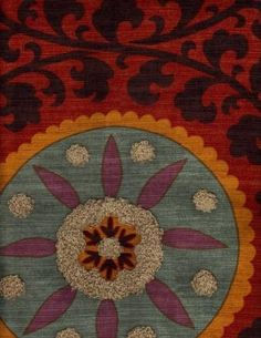 Lavo Sunset, 100% cotton fabric in antique red, turquoise, lilac, and gold