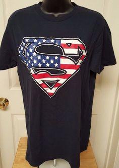 Superman Men's Red/White/Blue Superman Logo T-Shirt Size M #Superman #GraphicTee