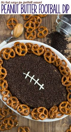 Put a new TWIST on pretzels and dip! This peanut butter + chocolate football dip will score BIG with your tailgate crowd!