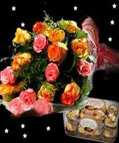 Midnight Chocolove  Mixed Flowers Bouquet with Ferrero Rocher Chocolate
