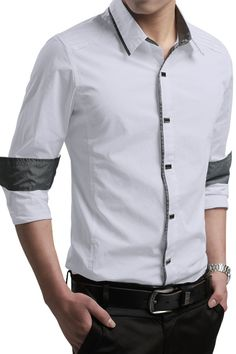 New style shirts cheap for men. This Liverpool Private Reserve Contrast Trim Long-sleeve Mens Shirt series includes various colors and sizes on offer. Featuring modern slim fit silhouette, button-down front, long sleeves and contrast trim at cuffs, collar and buttoned line. And to be creatively unique, you'll also find that the buttons are different with the most you'd ever seen. Classy, generous and fashionable, enhance your handsome look in this stunning #shirt!