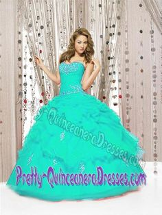 Latest Turquoise Sweetheart Quince Dresses with Embroidery and Pick-ups
