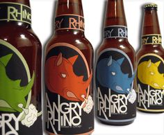 angry rhino brewery beer label design by james wenzel graphic design Cool Packaging, Bottle Packaging, Packaging Design, Bottle Shoot, Craft Beer Labels, Beer Label Design, Beer Brands, Bottle Design, Beer Bottle
