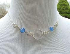 ed2a329fb 925 Sterling Silver Discreet Symbolic O Ring Day Collar Necklace with Blue  Chalcedony, BDSM Submissive Slave Collar, DDLG