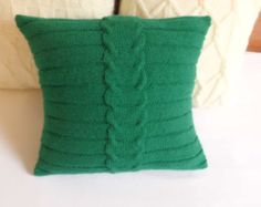 Cable de punto blanco funda de almohada almohada por Adorablewares