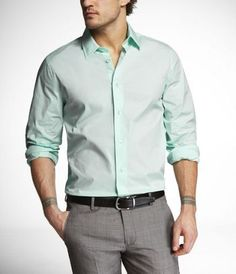 Mint shirt, grey pants (imagine, white tie and grey jacket...possible grey vest as well) The men are going to look sharp :)  1MX MODERN FIT STRETCH COTTON SHIRT - ExpressMen