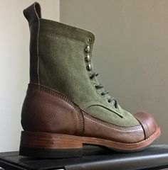 COFRADÍA vintage leather and canvas hot weather men's boots