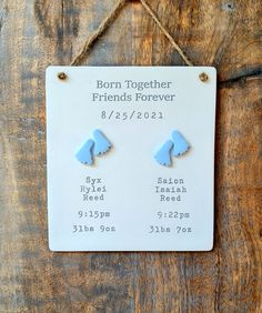 Handmade clay sign keepsake gift baby footprints Twin Babies, Twins, Twin Baby Gifts, Birth Gift, Baby Footprints, Gifts For New Parents, Baby Feet, Baby Names, Special Gifts