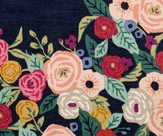 Juliet Rose Wreath Indigo Wool-Hooked Rug | Rifle Paper Co. Indigo, Rifle Paper Co, Rug Hooking, Innovation Design, Home Decor Inspiration, Decoration, Icon Design, Cotton Canvas, Hand Carved