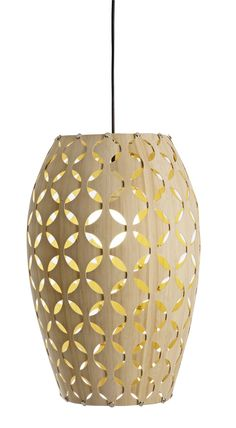 The Aura, part of the range of veneer layered lights, take inspiration from African design and integrates its traditional shweshwe pattern into its curved form.  Hand-finished in Cape town, each piece is made using sustainable bamboo.     Shade Material: 1.8mm Bamboo Flexi-ply     Colour: Natural Bamboo     Size:   560mm x 370mm dia     Ceiling Cup options:   80mm dia Aluminium in Brushed Aluminium   Powder coated white  Powder coated black  with a three s/steel wire adjustable suspension…