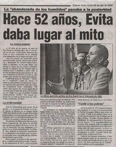 52 ANIVERSARIO DE LA MUERTE DE EVA PERON