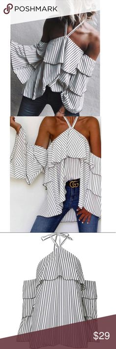 Cold shoulder blouse Cold shoulder halter ruffle blouse  Black and white stripe pattern  Must have for fall and autumn DIVIINE Tops Blouses