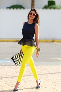 * Black Peplum Top + Yellow Pants or jeans + black & white sandals or stripe pumps Casual Outfits, Cute Outfits, Fashion Outfits, Womens Fashion, Fashion Clothes, Work Fashion, Spring Fashion, Yellow Pants Outfit, Yellow Outfits