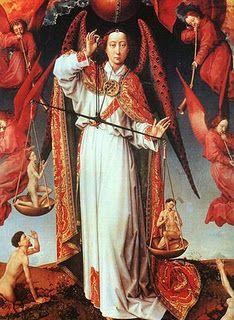 Detail from The Last Judgement by Rogier Van Der Weyden, 1445.  The red angel is spellbinding.