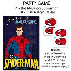 "Printable DIY Pin the Mask Super Hero Party Game Poster 20"" x 30"". $12.50, via Etsy."