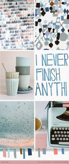 cool blues & greys with a shot of pink from @Louise { loveprintstudio }