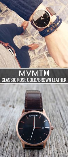 The MVMT Classic Rose Gold/Brown Leather is the quintessential minimalist timepiece for today's gentleman. This watch features a 3-hand Japanese quartz movement, a 45mm stainless steel case, and a genuine leather band that will have your wrist feeling like it's on vacation. At $110 and free shipping and returns worldwide, you can't afford not to. Click the buy button to get it now!
