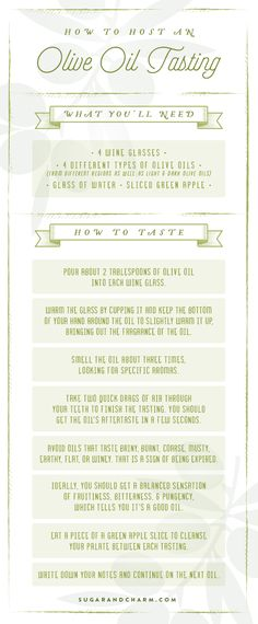 How to Host an Olive Oil Tasting - Sugar and Charm - sweet recipes - entertaining tips - lifestyle inspiration