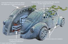 An underwater sculpture of a car designed to be a habitat for lobsters and other sea critters.