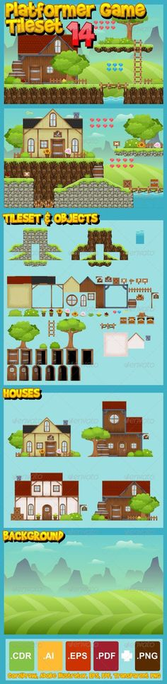 A set of vector game asset / graphic / sprite / art contains ground and house…