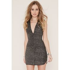 Forever 21 Women's  Glitter Knit Bodycon Dress ($28) ❤ liked on Polyvore featuring dresses, bodycon dress, forever 21, short bodycon dresses, forever 21 dresses and forever 21 cocktail dresses