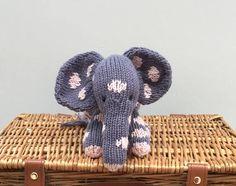 Hand knitted elephant  Handmade toy Plush stuffed toy-Hand