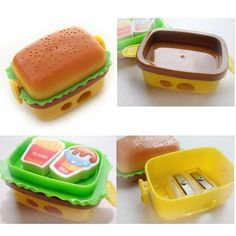 Desktop Stationery Burger King Pencil Sharpener With Two Rubbers Eraser Student