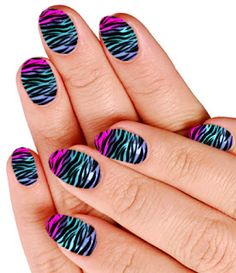 Bright animal print nail design