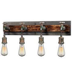 ELK Jonas 3 Light Wall Bracket In Multi-tone Weathered This series features cast metal sockets, pipes, valve wheels, and a wood accented backplate (bath only) creating a vintage industrial expression Industrial Style Lighting, Elk Lighting, Wall Sconce Lighting, Wall Sconces, Rustic Lighting, Lighting Store, Vanity Lamp, Bathroom Vanity Lighting, Light Bathroom