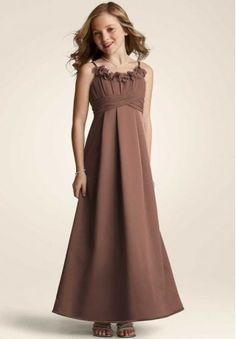 Satin Spaghetti Straps A-line Long Junior Bridesmaid Dress - Bride - WHITEAZALEA.com
