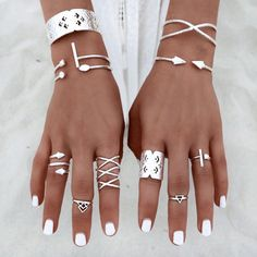 6pcs/Set Women Bohemian Vintage Silver Stack Rings Above Knuckle Blue Rings Set