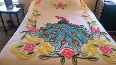 Vintage Chenille Peacock Bedspread Vibrant Colors! Full/Queen Thick Lush Tufts!!