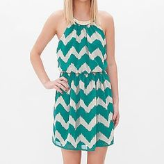 Chevron Necklace Dress NWOT! Perfect for spring! Lightweight dress with a gold crescent necklace attached. In perfect condition! As U Wish Dresses
