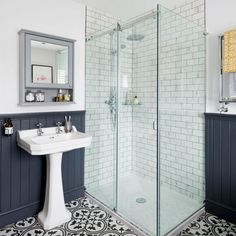 Bathroom makeover with roll top bath statement floor tiles and wood top panelling in this three-bedroom Victorian terraced house in Fordingbridge, Hampshire Bathroom Styling, Bathroom Interior Design, Bathroom Designs, Bathroom Inspo, Bathroom Renovations, Home Renovation, Remodel Bathroom, Restroom Remodel, Tub Remodel