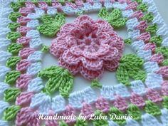 Crochet Granny Square Patterns Flower in granny square motif Crochet Flower Squares, Crochet Puff Flower, Crochet Motifs, Crochet Blocks, Granny Square Crochet Pattern, Crochet Flower Patterns, Crochet Granny, Crochet Crafts, Crochet Yarn