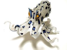 Jeff Thompson Hand Blown Pacific White Glass Octopus