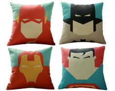 Set of 4 superhero pillows, superman pillow, batman pillow, the flash pillow, iron man pillow, superhero, superman, batman,super hero pillow