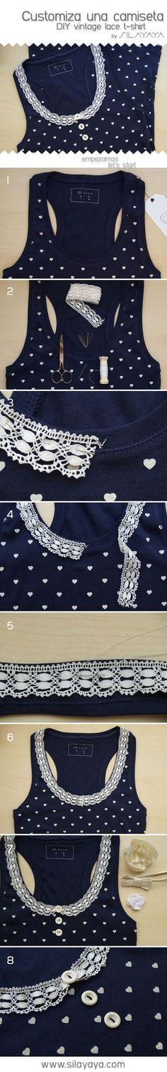 Tutorial camiseta básica customizada com renda (também pode ser aplicado em uma camiseta lisa e depois pintar os corações ou desenhos de sua preferência) #customize