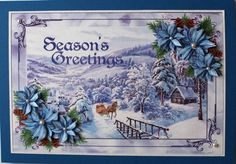 Blue Poinsettia Magical Vintage Winter Scenery by Taina Kankare: I printed the sheet and cut the topper out. First I matted the topper on a… Winter Scenery, Vintage Winter, Poinsettia, Hobbies And Crafts, Handmade Crafts, Decoupage, Christmas Cards, Card Making, Seasons