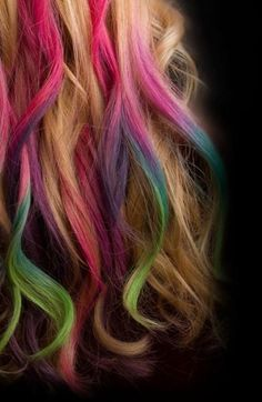 Colourful tipped hair - pink, green, blue, purple.