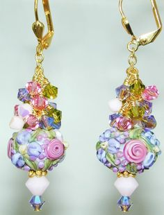 Tapestry PRINCESS Blooms HANDMADE Lampwork BEAD Earrings