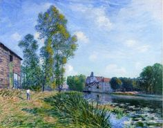 'The Lane of Poplars at Moret' by Alfred Sisley, who was an Impressionist landscape painter born in France and spent most of his life there, but retained British citizenship.