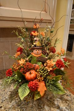 Autumn Scarecrow Arrangement by kristenscreations on Etsy