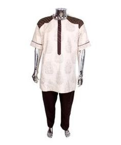 Buy Tradtional cordinate wear for men-Brown and cream from Bosh Designs  at ₦25000.00 on Bargain Master Nigeria