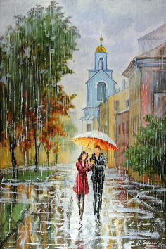 TOGETHER ~ Stanislav Sidorov ~ Oil Acrylic Whimsical Canvas ~ Palette Knife Abstract Wall Art ~Impressionism Decorative Painting Umbrella Painting, Rain Painting, Umbrella Art, Rain Art, Illustration Art, Illustrations, Jolie Photo, Dancing In The Rain, Love Art