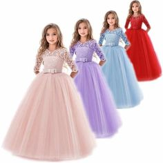 Kids Flower Girls Wedding Dress For Girl Party Dresses Lace Princess Summer Teenage Children Princess Dress 8 10 12 14 Years, Wedding Flower Girl Dresses, Flower Dresses, Cute Dresses, Girls Dresses, Flower Girls, Girls Party Dress, Party Dresses, Girls Communion Dresses, Gown Pattern