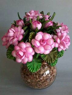 Cheap and simple wedding centerpiece in / Nylon Flowers, Diy Flowers, Flower Decorations, Paper Flowers, Pista Shell Crafts, Indian Room Decor, Garden Ideas Diy Cheap, Simple Wedding Centerpieces, Polymer Clay Flowers