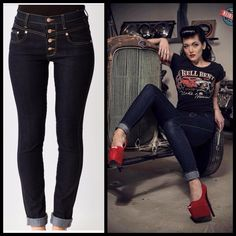 Vintage 50s style cuffed slim jeans