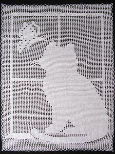 Kitty in the Window Filet Afghan Pattern Pack