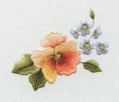 Forget me knots and pansy  Trish Burr Embroidery Insight into my work and inspirations LINK=>Free Patterns & PDF Downloads for you to print out and stitch.  Click on the  titles to access each file.